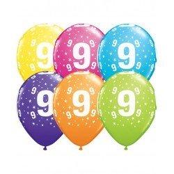 Pack globos Número 9 - Látex