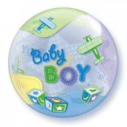 Globo bubble Baby boy aviones